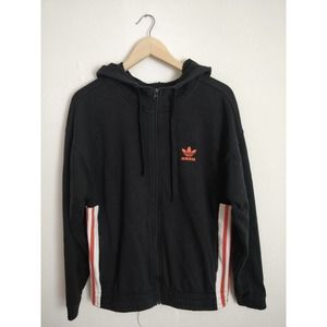Adidas Black Red Striped Button Sides Hoodie Jacket Women's Size S